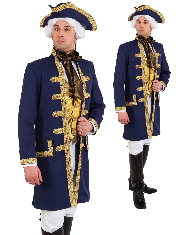 Adult Mens Royal Navy Admiral Commander Military Uniform Fancy Dress Costume New