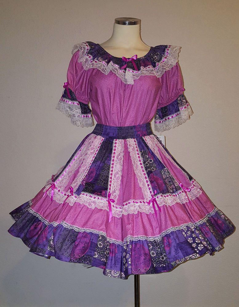 71bb9b988b2 Purple and Pink Square Dance Dress Outfit - Women Size Small NWT   SquareUpFashions