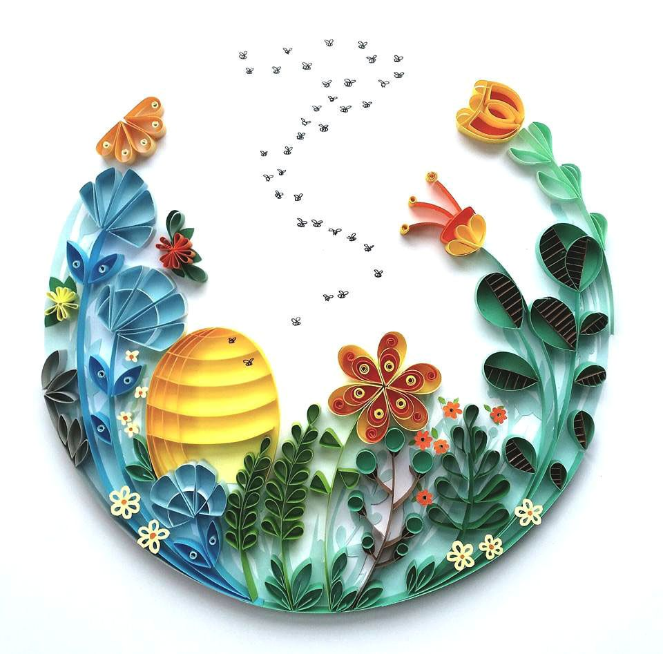 Quilling wedding decorations  Whimsical Quilled Illustrations by Meloney Celliers  Bees  Click
