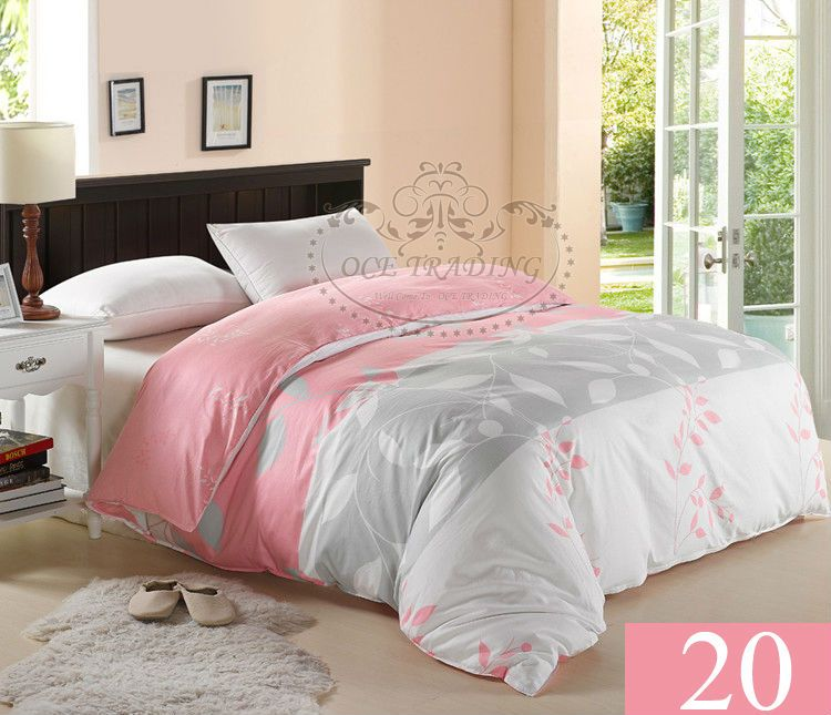 free shipping 100 cotton new design 15 off twin full queen king size 20 pink silver printed. Black Bedroom Furniture Sets. Home Design Ideas