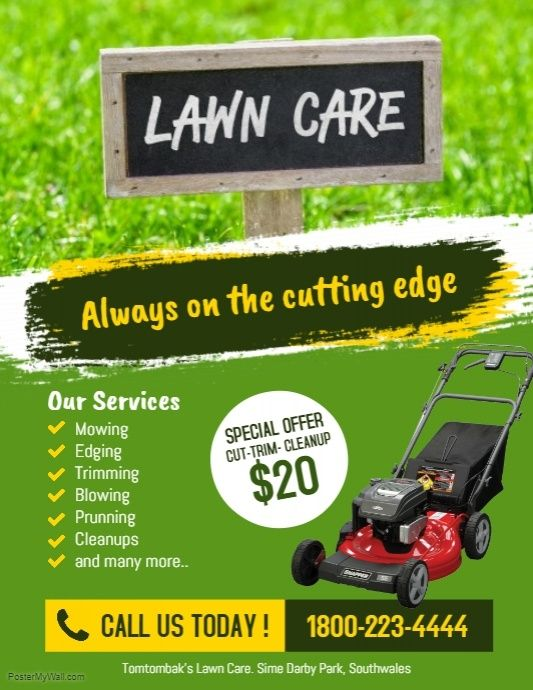 Lawn Care Services Flyer Poster Modern Business Flyer Template