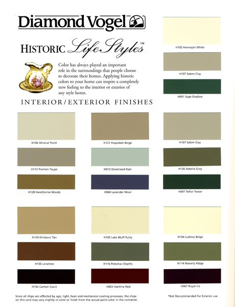 Historic Lifestyles Color Chart Colors Page 1 Exterior Paint