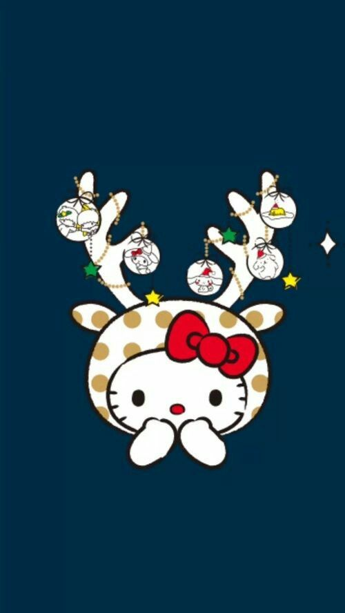 Kitty Drawing Hello Christmas Holiday Wallpaper Cellphone Backgrounds Time Sanrio Board