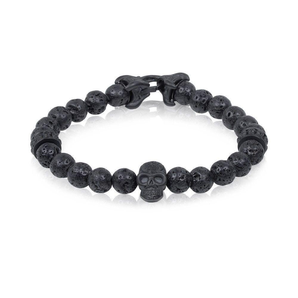 8mm Lava Bead Skull Steel Matte Black Bracelet