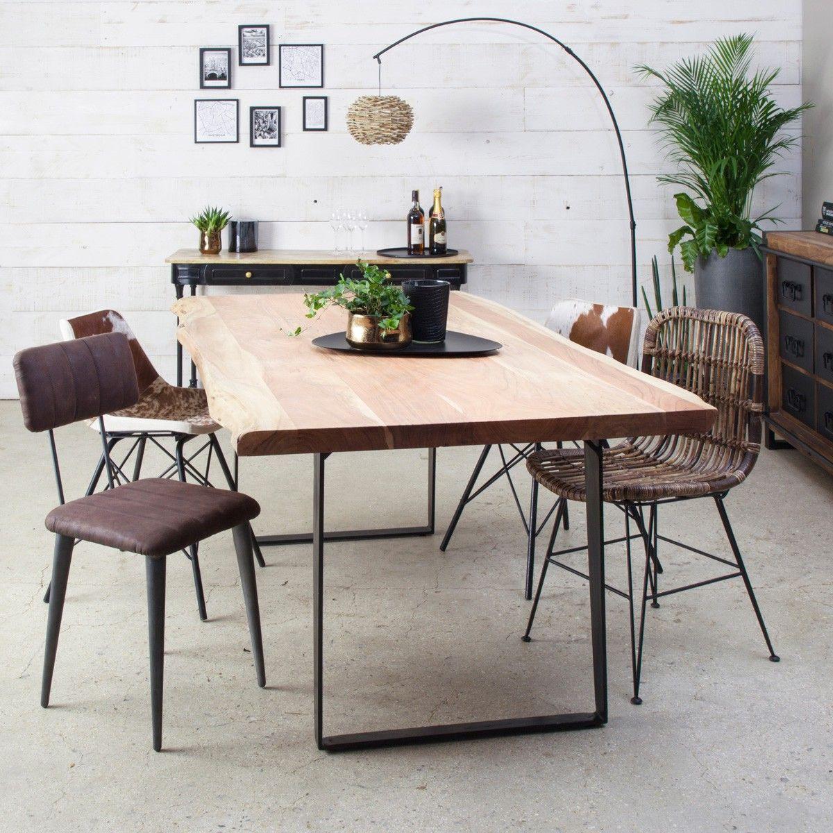 Table A Manger Bois Massif Tronc D Arbre Pieds Metal Table A