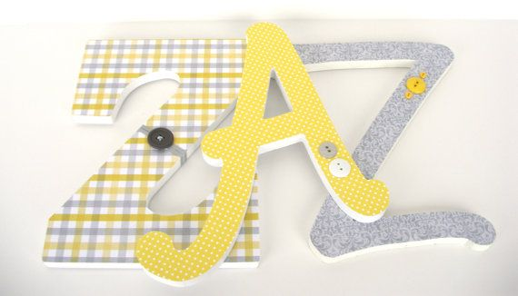 Monogram Custom Decorated Wooden Letters, Personalized Nursery Name ...