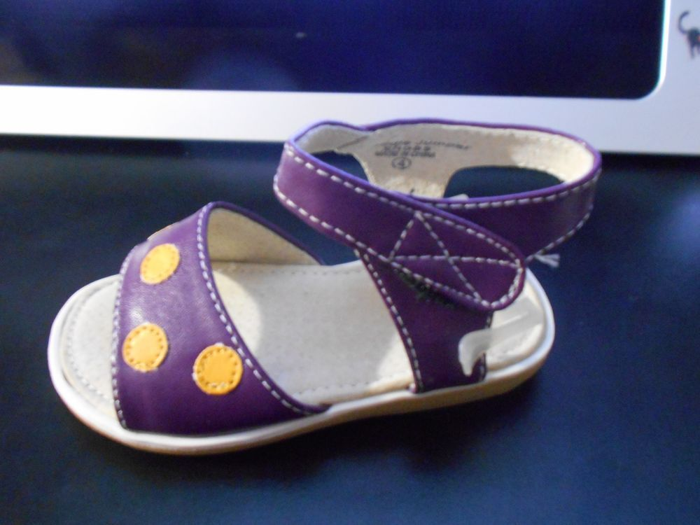 Baby Girl's Purple w/Yellow Dots Sandals Toddler Size 4  NWB! #Sandals