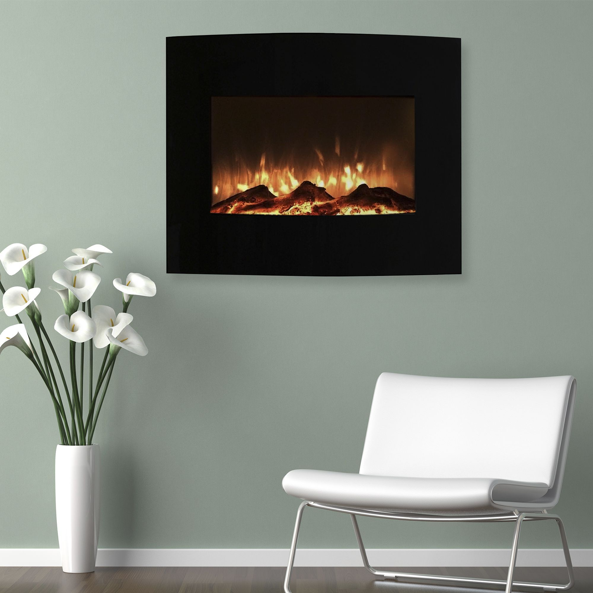 elegant curved design indoor ventless wall fireplace firepits