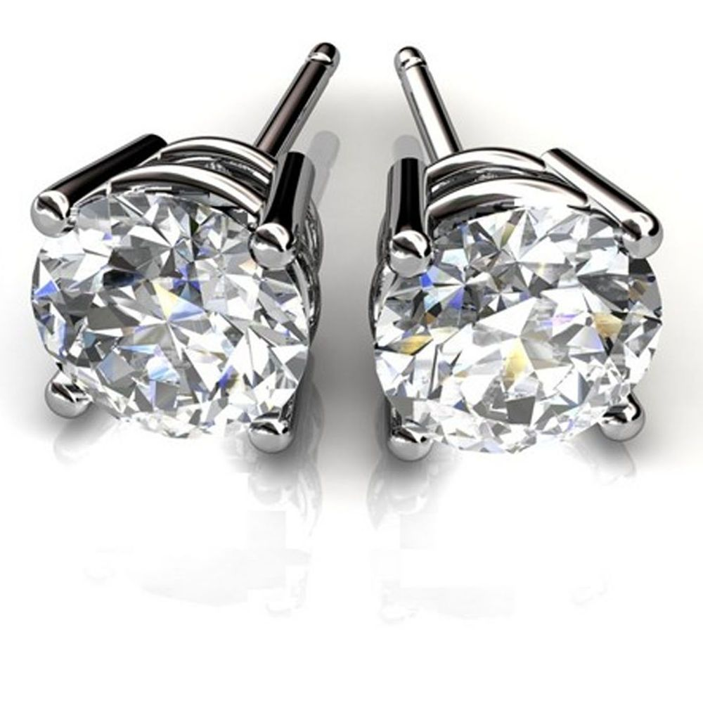 Diamond 1 00ct Earrings Fine Ebay 14kt White Gold Stud