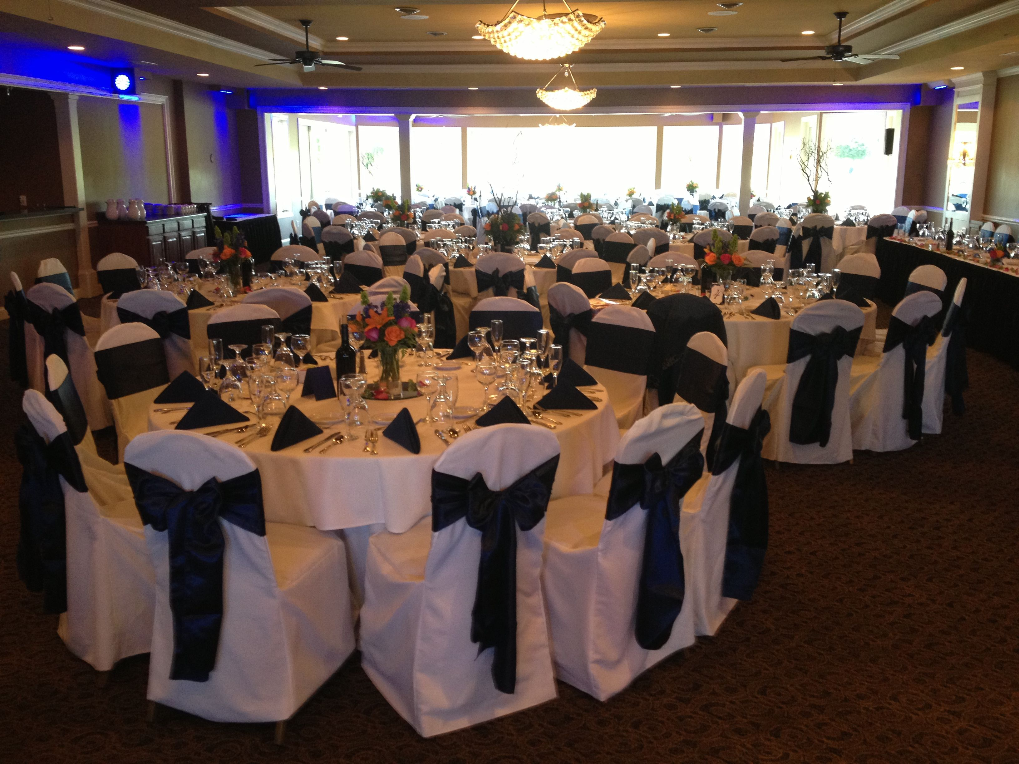 white wedding chair covers hire school desk vintage navy blue satin sash tie on poly cover