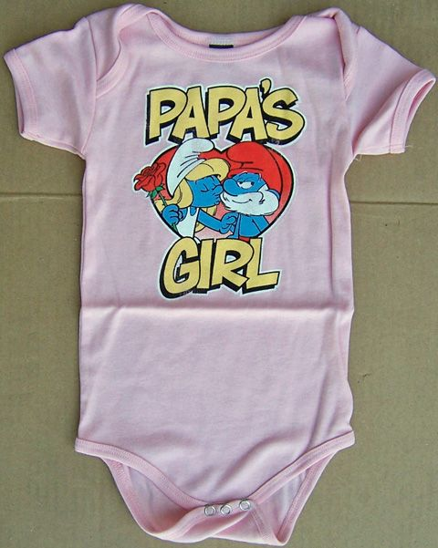bc46b5f2a smurf baby clothes   Junk Food Smurfs Papa's Girl Infant Bodysuit    MonsterMarketplace.com