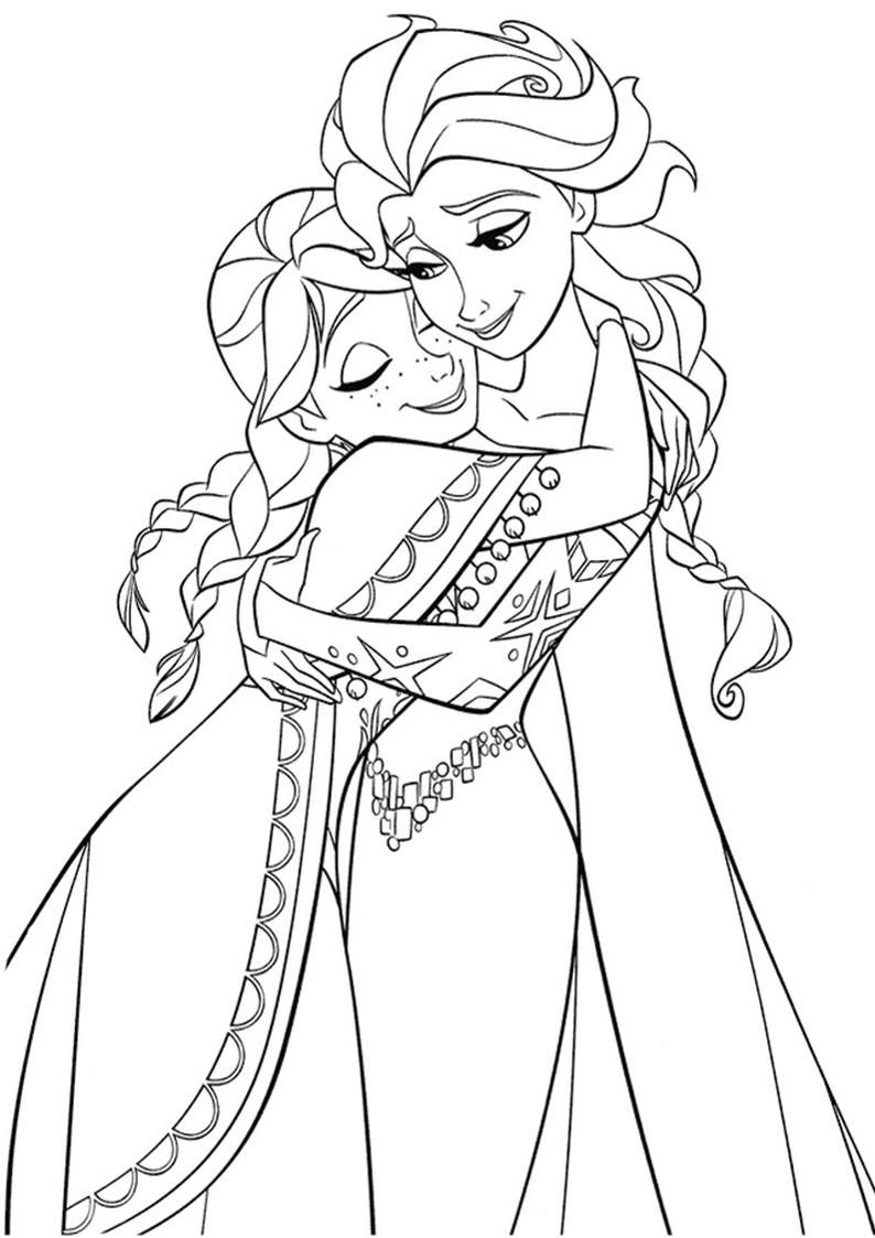 Anna Hugging Elsa the Snow Queen Coloring Page Frozen Coloring Page