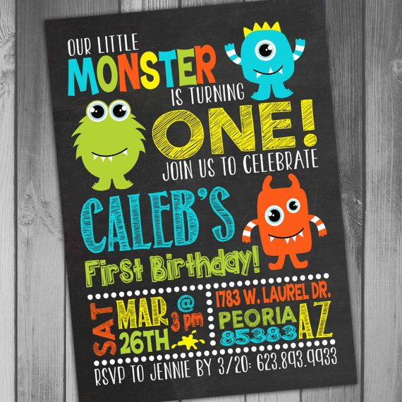 Monster Birthday Invitation Little Boy 1st First Baby More