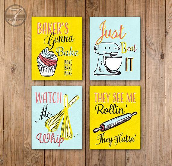 Funny Kitchen Quote Art Print Set, Kitchen Decor, Bakers Cupcake ...