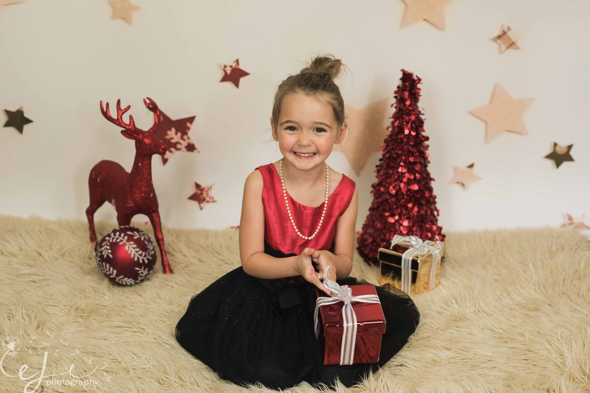 Adorable Christmas Mini Set Up by Evelyn Jane Photography using Paper Stars backdrop. Order online at www.backdropscanada.ca