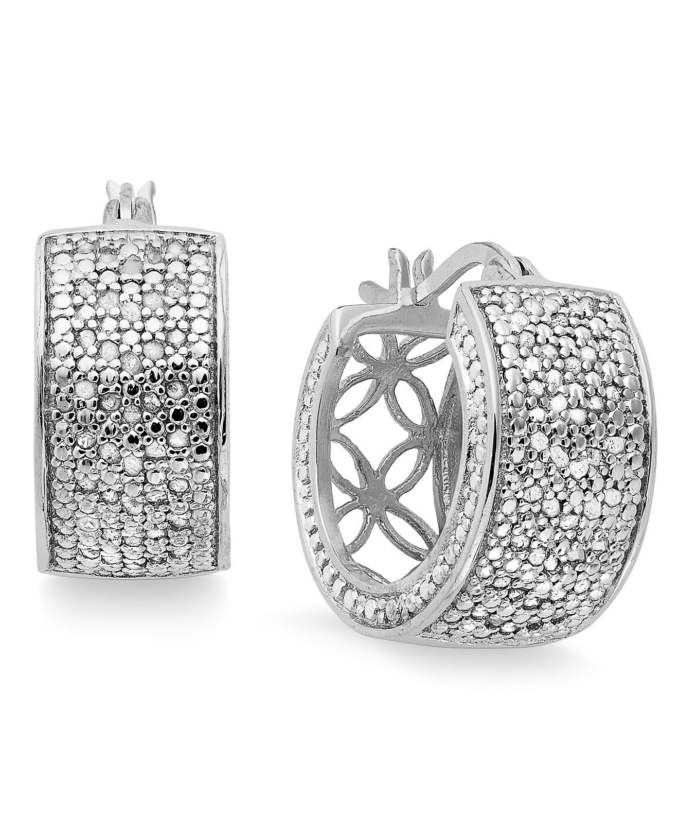 b7f27e7fe Victoria Townsend Small Rose-Cut Diamond Hoop Earrings in Sterling Silver  (1/2 ct. t.w.) - Silver - Jewelry & Watches - Macy's