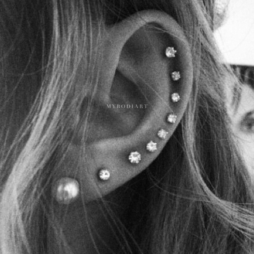 Cute Cartilage All The Way Around Helix Ear Piercing Ideas Earring Jewelry - lindo piercing de cartílago ideas para mujeres - www.MyBodiArt.com #makeupstylesforteens #earpeircings