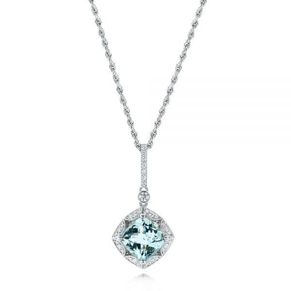 Vintage inspired aquamarine and diamond pendant joseph jewelry vintage inspired aquamarine and diamond pendant joseph jewelry bellevue seattle online design your owncushion mozeypictures Choice Image