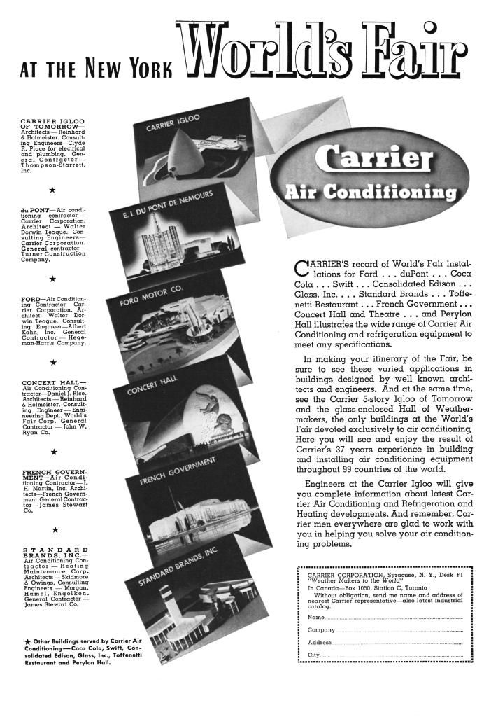 Vintage Carrier Ad, 1939 New York Worlds Fair. Carrier was
