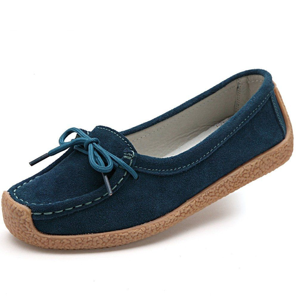 women genuine leather shoes woman lace-up zapatos mujer suede leather lady moccasins  spring woman