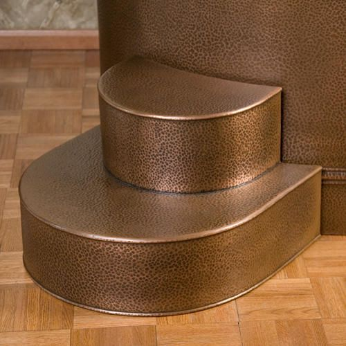 Rounded Copper Tub Steps (16 Gauge / Hammered Exterior / Antique Copper)