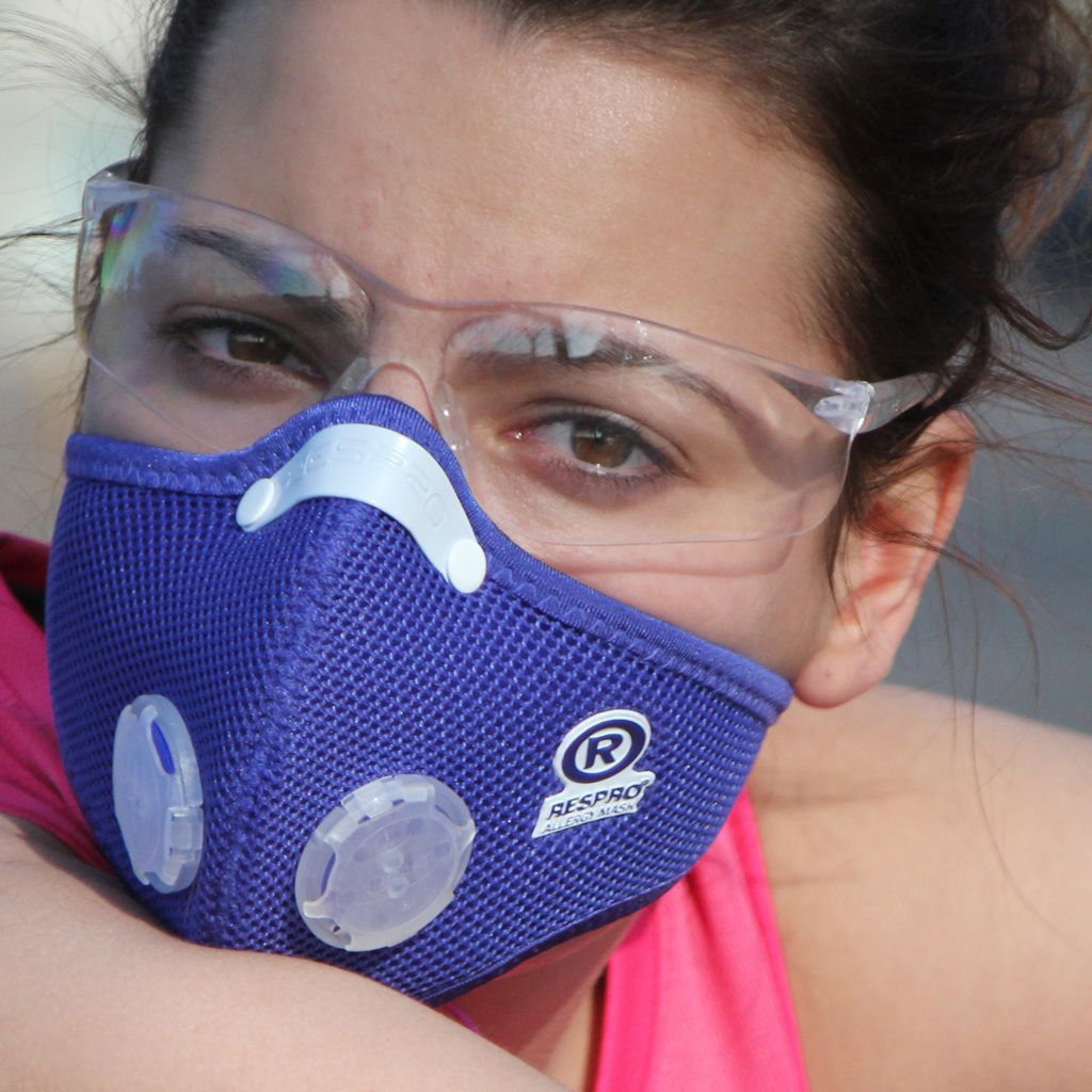 Respro Allergy Mask Cute woman wearing pollution respirator and goggles