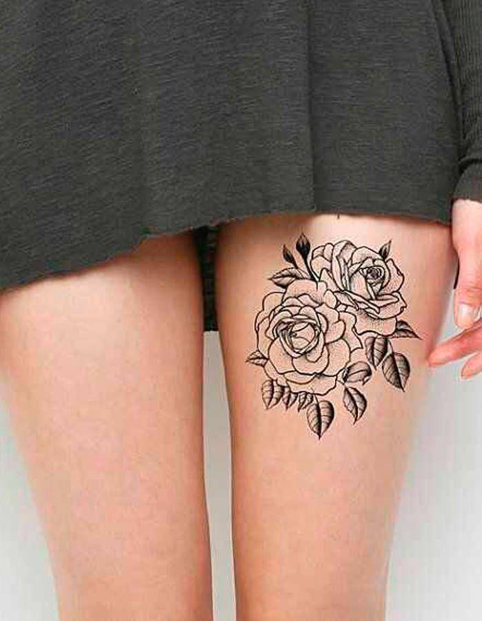 tatouage fleur sur la cuisse | tatoo