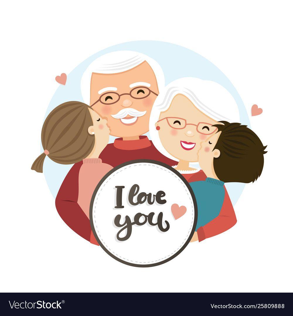 Happy Grandparents Day Scene Family Hug Vector Image On Vectorstock Happy Grandparents Day Grandparents Day Happy Grandparents Day Image