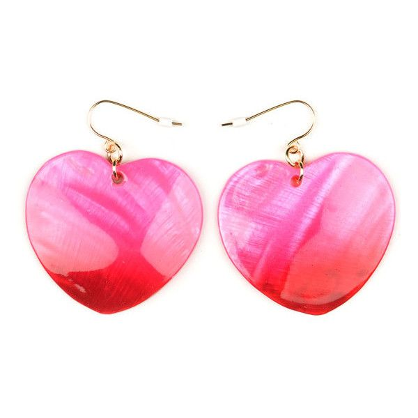 FULL TILT Ombre Shell Heart Earrings ($1.97) ❤ liked on Polyvore featuring jewelry, earrings, accessories, pink, women, pink heart earrings, full tilt earrings, seashell earrings, pink earrings and heart earrings