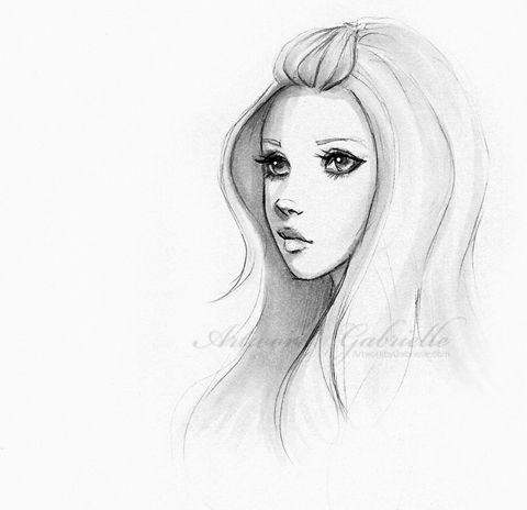 Beautiful girl simple beauty drawing bella ragazza for Beautiful drawings for girls