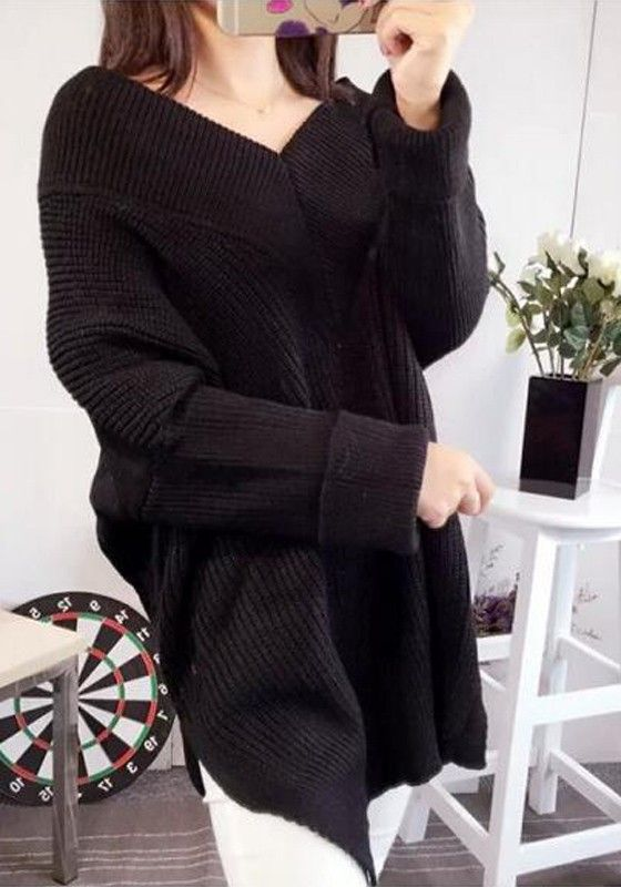 Black Plain Irregular V-neck Streetwear Cotton Pullover Sweater ...