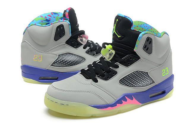 best service 1c276 48869 Mens Air Jordan V 5 Retro Basketball Shoes Grey Pink Purple