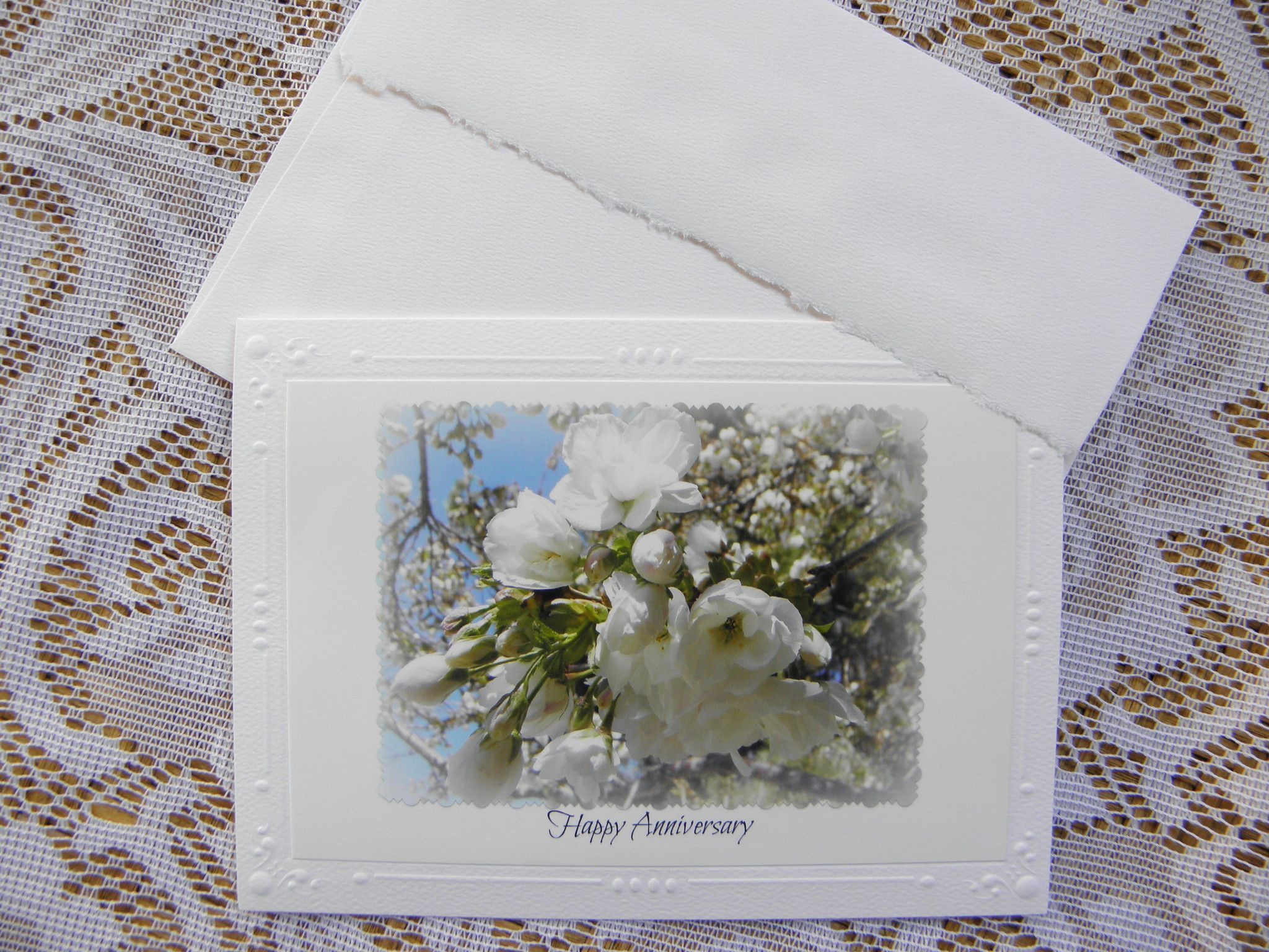 White Floral Photo Anniversary Card By Ponsart 500 Including A