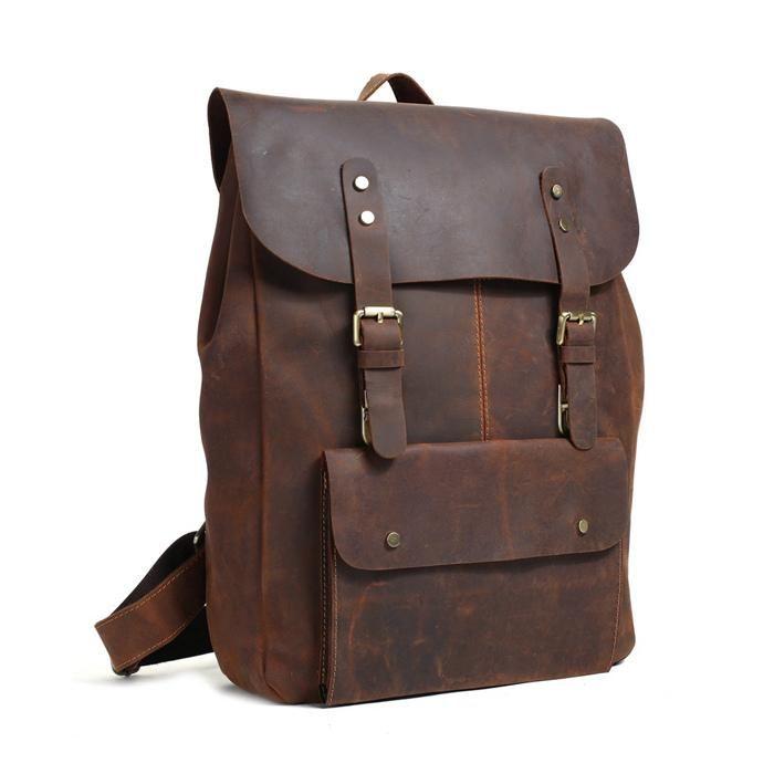 cd32b6ca37 Backpacking Vintage Handmade Leather Backpack Travel Backpack School  Rucksack 9452