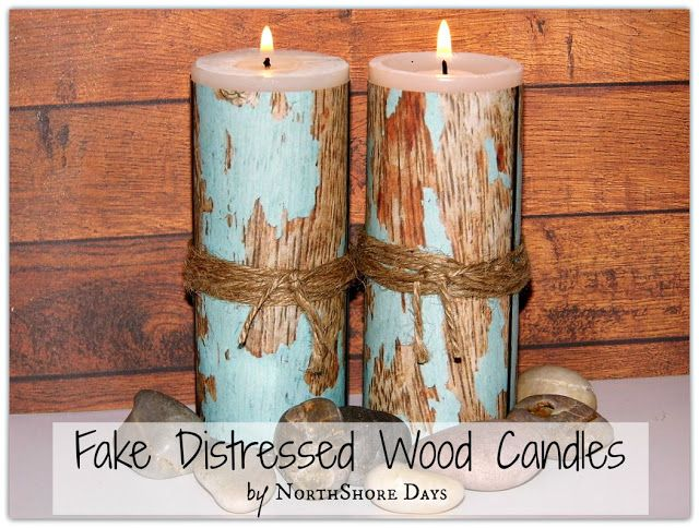 Fake Distressed Wood Candles. - Easy update-able decor