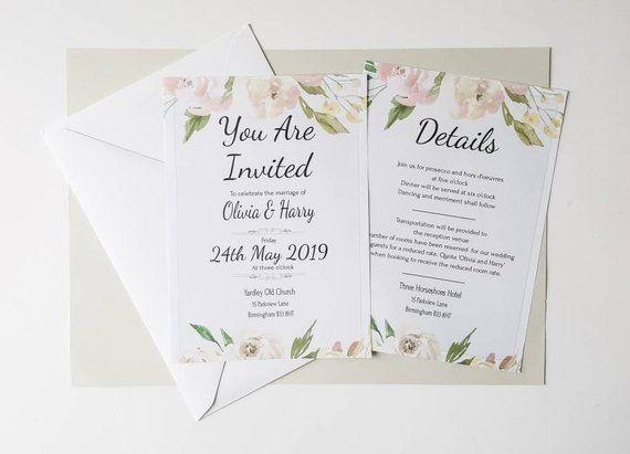 When Do You Order Wedding Invitations: Blush Invitation, Pink Invite, Editable Invite, Wedding