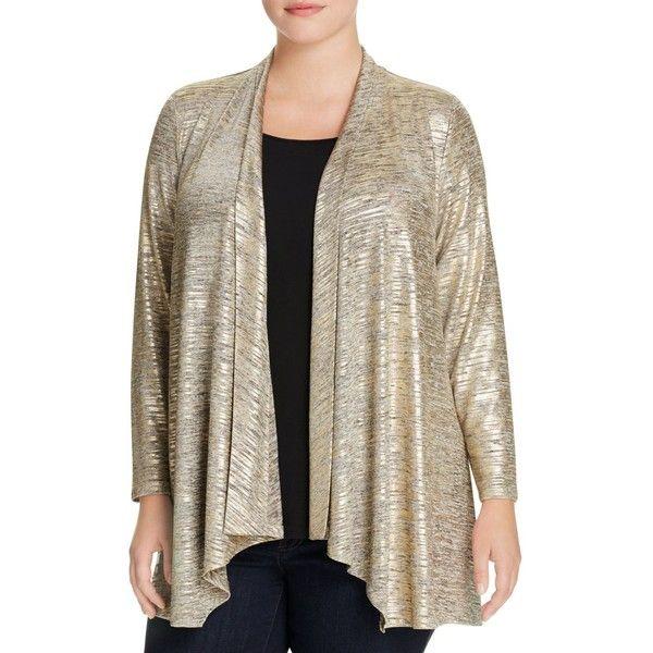 Calvin Klein Plus Metallic Flyaway Cardigan ($41) ❤ liked on ...
