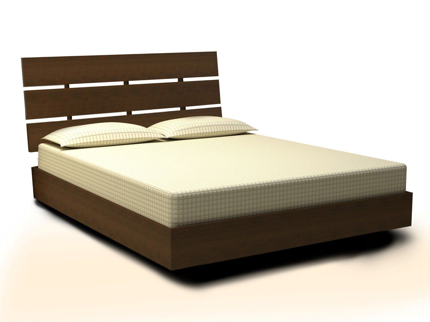 Master bedroom with 2 beds  Nexera  Nocce Platform Bed with Headboard Queen Truffle