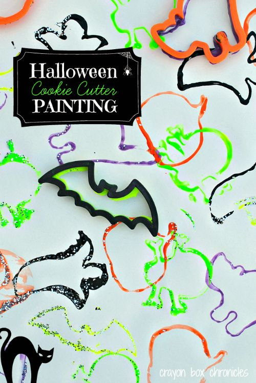 Halloween Cookie Cutter Painting by Crayon Box Chronicles-day 22