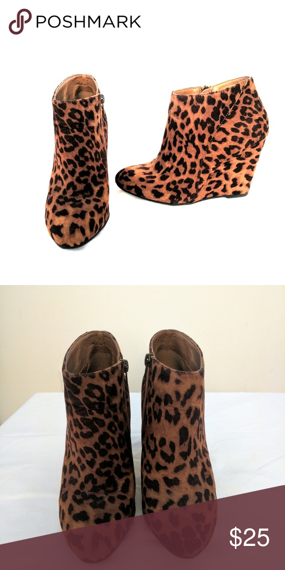 Madden girl leopard print wedge boots