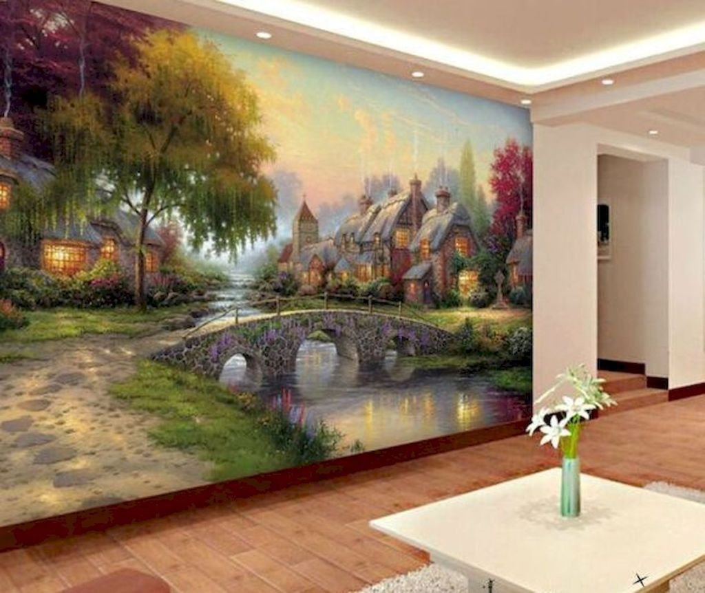 Gold Flower Painting Full Wall Ceiling Mural Photo Wallpaper Print Home 3D Decal