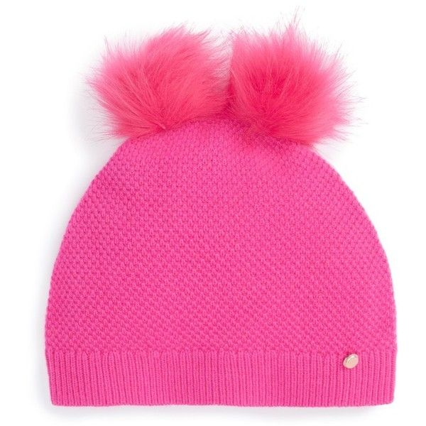 9e1b18c595ed9 Women s Ted Baker London Double Faux Fur Pom Beanie ( 69) ❤ liked on  Polyvore