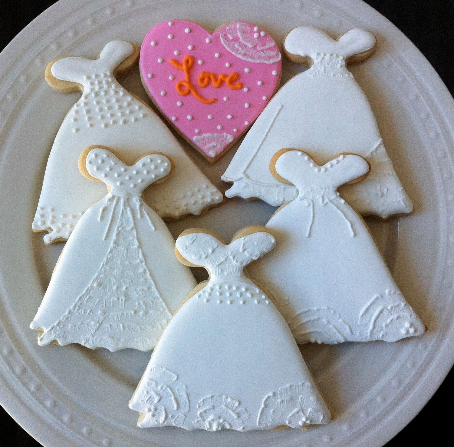 Decorated Wedding Dress Cookies with Love Hearts Perfect