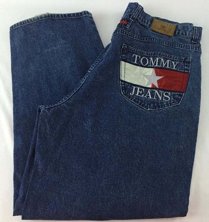 Vtg 90s TOMMY HILFIGER Big Flag Logo Pocket Front Leg Signature Jeans Men 38x34…