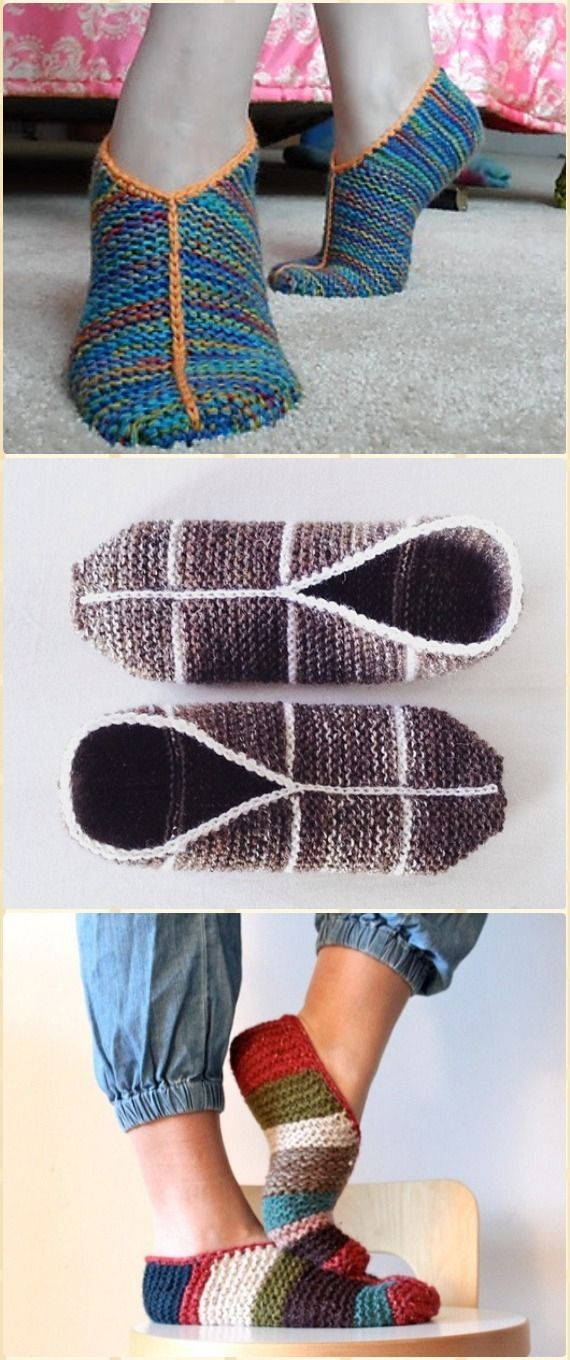 Knit Simple Garter Stitch Slippers Free Pattern - Knit Adult ...