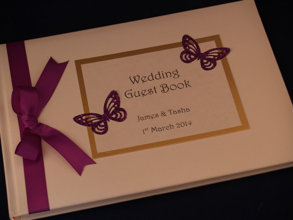 Glitter butterfly personalised wedding guest book party