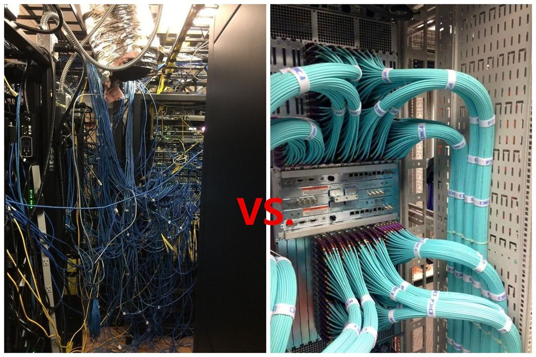 Cable Mess Vs Neat Management In Fact You Can Always Do Structured Wiring Better