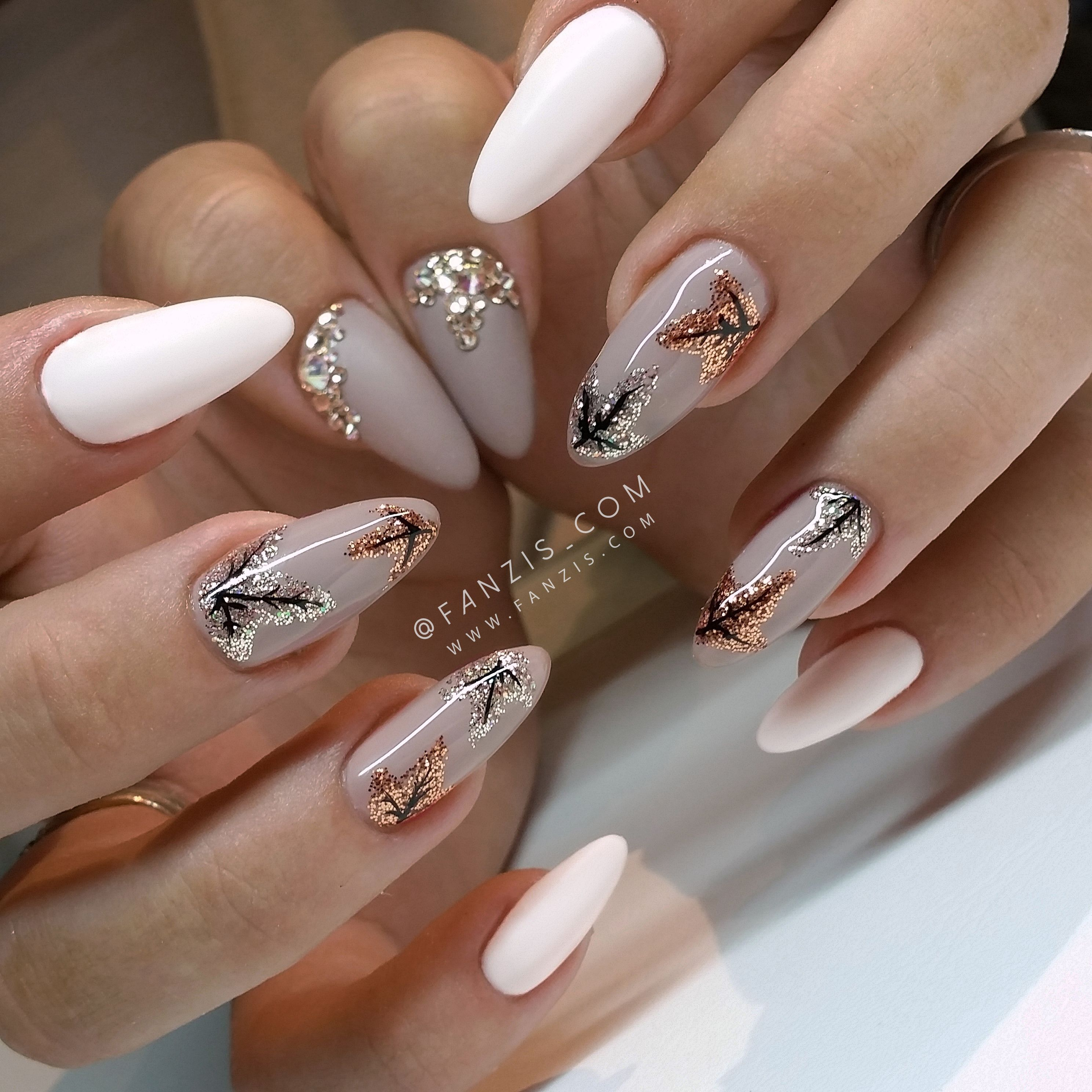 Autumn Fall nails with glitter leafs … | Pinteres…