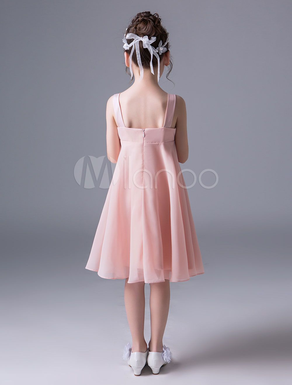 chiffon flower girl dresses pink