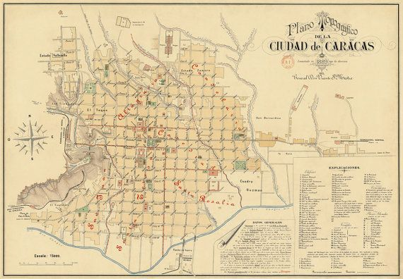 Old map of Caracas Caracas city map Vintage map fine print Caracas